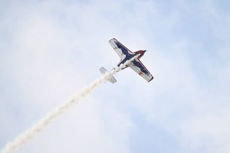 pioneer: ISTANBUL, TURKEY - AUGUST 02, 2015: Pioneer Team performing show with Alpi Pioneer 330 Ultralight aircraft at the TATCA Airfest 2015
