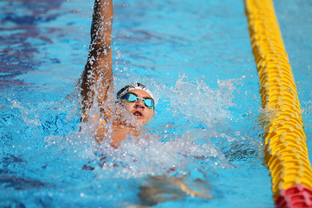 ISTANBUL, TURKEY - AUGUST 16, 2015: Unidentified competitor swims at the Turkcell Turkish Swimming Championship in Enka Sports Center