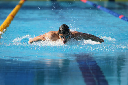 swimming race: ISTANBUL, TURKEY - AUGUST 15, 2015: Unidentified competitor swims at the Turkcell Turkish Swimming Championship in Enka Sports Center