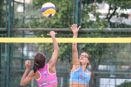 istanbul beach: ISTANBUL, TURKEY - AUGUST 08, 2015: Participants in Kalamis Beach Volleyball court during Nestea Pro Beach Tour Kalamis Open