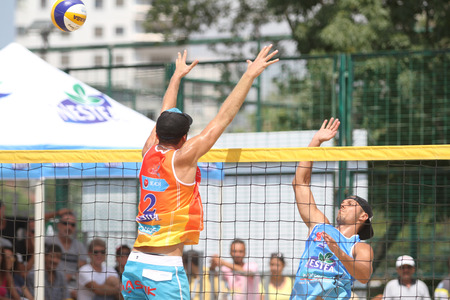 istanbul beach: ISTANBUL, TURKEY - AUGUST 09, 2015: Participants in Kalamis Beach Volleyball court during Nestea Pro Beach Tour Kalamis Open