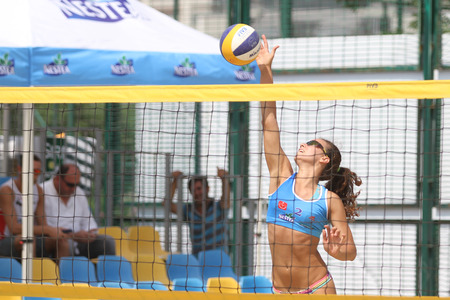 turkey beach: ISTANBUL, TURKEY - AUGUST 08, 2015: Participants in Kalamis Beach Volleyball court during Nestea Pro Beach Tour Kalamis Open