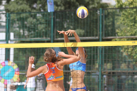 turkey beach: ISTANBUL, TURKEY - AUGUST 09, 2015: Participants in Kalamis Beach Volleyball court during Nestea Pro Beach Tour Kalamis Open