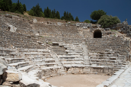 teatro antiguo: Theater of Ephesus Ancient City in Izmir, Turkey Editorial