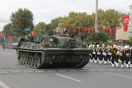 tracked: ISTANBUL, TURKEY - OCTOBER 29, 2015: Tracked vehicle in Vatan Avenue during 29 October Republic Day celebration of Turkey