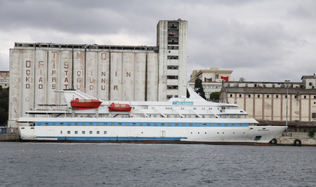 tonnage: ISTANBUL, TURKEY - OCTOBER 29, 2015: Mavi Marmara Cruise Ship in Istanbul Haydarpasa Port. Ship has 1,080 passenger capacity with 4,142 gross tonnage.