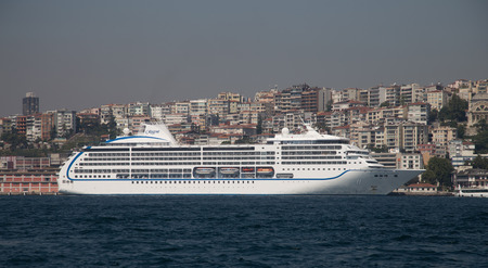 tonnage: ISTANBUL, TURKEY - SEPTEMBER 05, 2015: Seven Seas Mariner Cruise Ship in Istanbul Port. Ship has 700 passenger capacity with 48,075 gross tonnage.