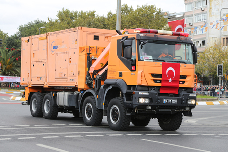 presidency: ISTANBUL, TURKEY - OCTOBER 29, 2015: Disaster and Emergency Managment Presidency vehicle in Vatan Avenue during 29 October Republic Day celebration of Turkey Editorial