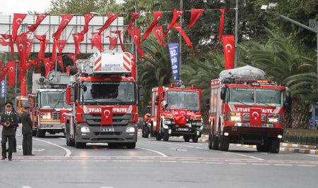 29: ISTANBUL, TURKEY - OCTOBER 29, 2015: Firetruck in Vatan Avenue during 29 October Republic Day celebration of Turkey