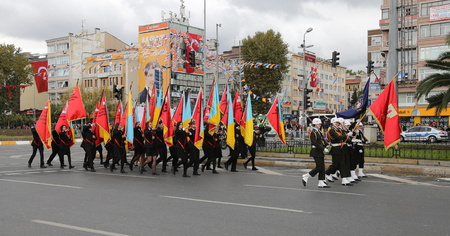 29: ISTANBUL, TURKEY - OCTOBER 29, 2015: Students march with flags in Vatan Avenue during 29 October Republic Day celebration of Turkey