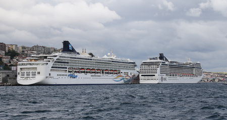 capacities: ISTANBUL, TURKEY - OCTOBER 29, 2015: MSC Magnifica and Norwegian Spirit Cruise Ships in Istanbul Port. Ship has 3605 and 1996 passenger capacities.