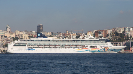 tonnage: ISTANBUL, TURKEY - SEPTEMBER 25, 2015: Norwegian Spirit Cruise Ship in Istanbul Port. Ship has 1996 passenger capacity with 75388 gross tonnage.