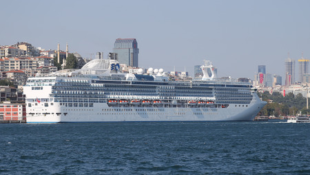 tonnage: ISTANBUL, TURKEY - AUGUST 30, 2015: MS Island Princess Cruise Ship in Istanbul Port. Ship has 1,970 passenger capacity with 91,627 gross tonnage.