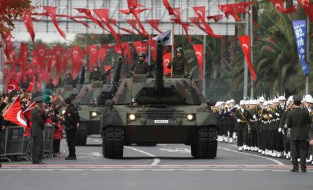 29: ISTANBUL, TURKEY - OCTOBER 29, 2015: Tank in Vatan Avenue during 29 October Republic Day celebration of Turkey Editorial