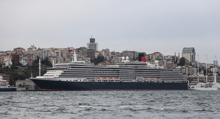 tonnage: ISTANBUL, TURKEY - OCTOBER 10, 2015: MS Queen Victoria Cruise Ship in Istanbul Port. Ship has 2014  passenger capacity with 90000 gross tonnage. Editorial