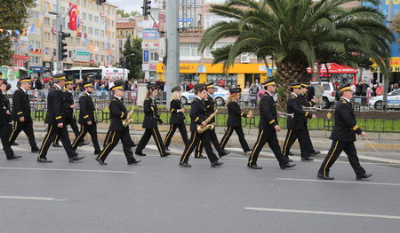 march band: ISTANBUL, TURKEY - OCTOBER 29, 2015: Band march in Vatan Avenue during 29 October Republic Day celebration of Turkey Editorial