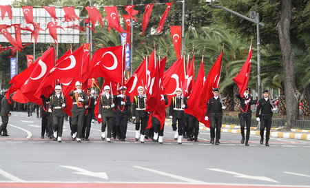 29: ISTANBUL, TURKEY - OCTOBER 29, 2015: Soldiers march with flags in Vatan Avenue during 29 October Republic Day celebration of Turkey