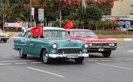 29: ISTANBUL, TURKEY - OCTOBER 29, 2015: Classic car in Vatan Avenue during 29 October Republic Day celebration of Turkey Editorial