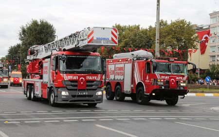 firetruck: ISTANBUL, TURKEY - OCTOBER 29, 2015: Firetruck in Vatan Avenue during 29 October Republic Day celebration of Turkey