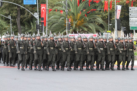 29: ISTANBUL, TURKEY - OCTOBER 29, 2015: Soldiers march in Vatan Avenue during 29 October Republic Day celebration of Turkey Editorial