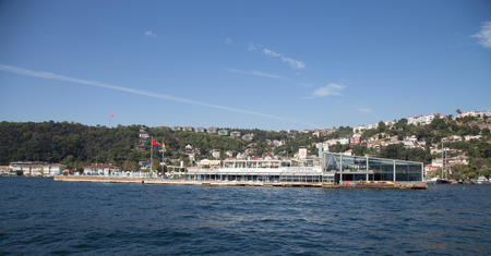 purchased: ISTANBUL, TURKEY - SEPTEMBER 25, 2015: Galatasaray Islet on Bosphorus Strait. Island was built in 1872 by architect Sarkis Balyan, in 1957 Galatasaray purchased the islet.