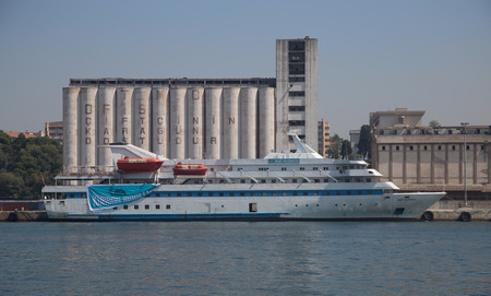 tonnage: ISTANBUL, TURKEY - SEPTEMBER 05, 2015: Mavi Marmara Cruise Ship in Istanbul Haydarpasa Port. Ship has 1,080 passenger capacity with 4,142 gross tonnage. Editorial