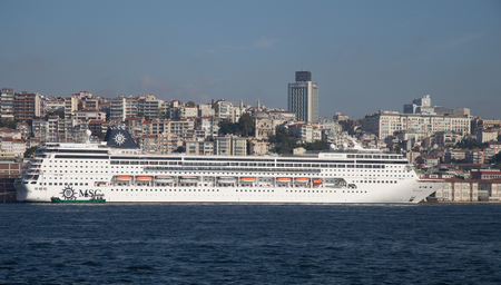 tonnage: ISTANBUL, TURKEY - SEPTEMBER 25, 2015: MSC Sinfonia Cruise Ship in Istanbul Port. Ship has 2679 passenger capacity with 65542 gross tonnage.