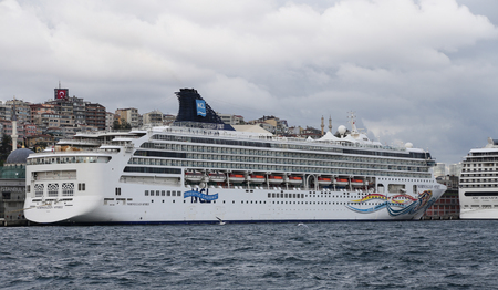 tonnage: ISTANBUL, TURKEY - OCTOBER 29, 2015: Norwegian Spirit Cruise Ship in Istanbul Port. Ship has 1996 passenger capacity with 75388 gross tonnage.