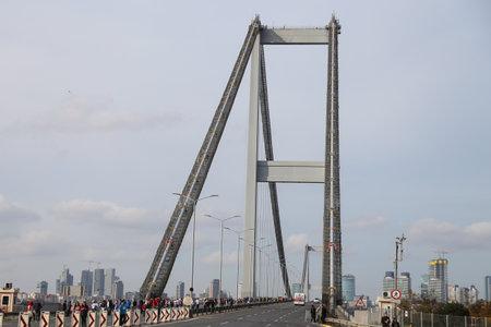 bogazici: ISTANBUL, TURKEY - NOVEMBER 15, 2015: Bosphorus Bridge after 37th Istanbul Marathon. More than 100000 people attended to marathon, 15K, 10K and fun run. Editorial
