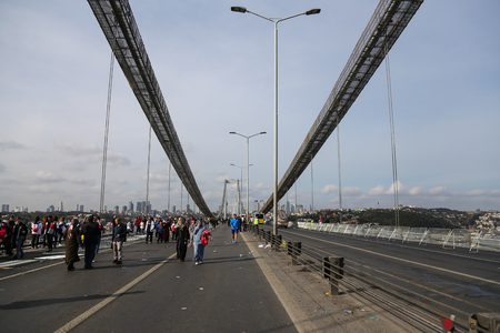 bogazici: ISTANBUL, TURKEY - NOVEMBER 15, 2015: Bosphorus Bridge after 37th Istanbul Marathon. More than 100000 people attended to marathon, 15K, 10K and fun run. Editorial