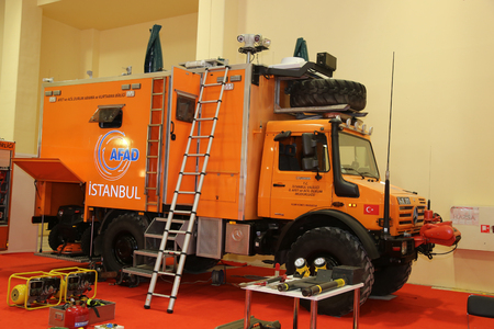 security search: ISTANBUL, TURKEY - SEPTEMBER 12, 2015: Search and rescue vehicle in ISAF Security fair in Istanbul Fair Center Editorial