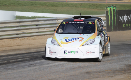 fia: ISTANBUL, TURKEY - OCTOBER 03, 2015: Martin Kaczmarski drives RXLites of Lotto Team in FIA World Rallycross Championship.