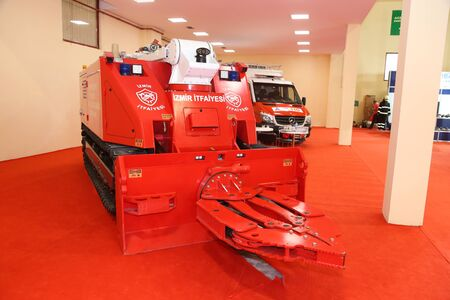 tracked: ISTANBUL, TURKEY - SEPTEMBER 12, 2015: Tracked fire truck in ISAF Security fair in Istanbul Fair Center