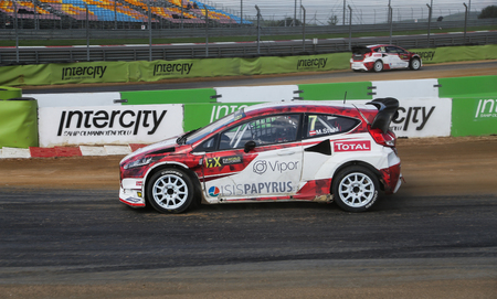 fia: ISTANBUL, TURKEY - OCTOBER 03, 2015: Manfred Stohl drives Ford Fiesta of World RX Team Austria in FIA World Rallycross Championship. Editorial