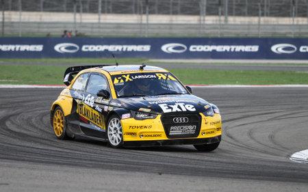 fia: ISTANBUL, TURKEY - OCTOBER 03, 2015: Robin Larsson drives Audi A1 in FIA World Rallycross Championship.