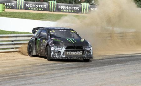 fia: ISTANBUL, TURKEY - OCTOBER 03, 2015: Liam Doran drives Citroen DS3 of SDRX Team in FIA World Rallycross Championship.