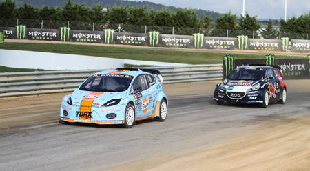 ISTANBUL, TURKEY - OCTOBER 03, 2015: Thomas Bryntesson drives RXLites car of JC Race Teknik Team in FIA World Rallycross Championship. Editorial