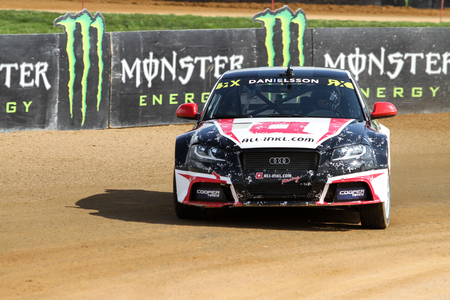fia: ISTANBUL, TURKEY - OCTOBER 03, 2015: Alx Danielsson drives Audi S3 of all-inkl.com Munnich Motorsport Team in FIA World Rallycross Championship. Editorial