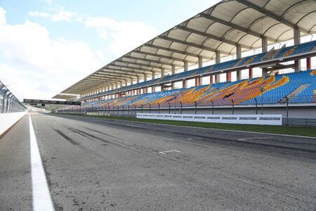 fia: ISTANBUL, TURKEY - OCTOBER 03, 2015: Istanbul Park circuit and grandstand during FIA World Rallycross Championship.
