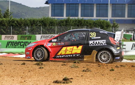 fia: ISTANBUL, TURKEY - OCTOBER 03, 2015: Kevin Eriksson drives RXLites car of OlsbergsMSE Team in FIA World Rallycross Championship.
