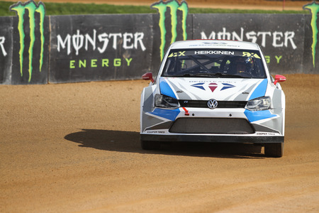 fia: ISTANBUL, TURKEY - OCTOBER 03, 2015: Toomas Heikkinen drives Volkswagen Polo of Marklund Motorsport Team in FIA World Rallycross Championship.