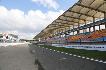 grandstand: ISTANBUL, TURKEY - OCTOBER 03, 2015: Istanbul Park circuit during FIA World Rallycross Championship.