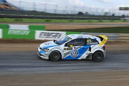 fia: ISTANBUL, TURKEY - OCTOBER 03, 2015: Per Gunnar Andersson drives Volkswagen Polo of Marklund Motorsport Team in FIA World Rallycross Championship. Editorial