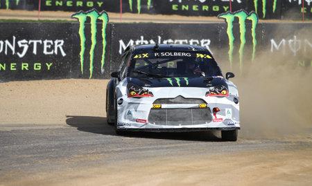 fia: ISTANBUL, TURKEY - OCTOBER 03, 2015: Petter Solberg drives Citroen DS3 of SDRX Team in FIA World Rallycross Championship.