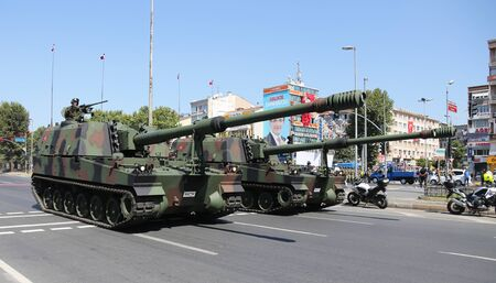 tracked: ISTANBUL, TURKEY - AUGUST 30, 2015: Howitzers during 93th anniversary of 30 August Turkish Victory Day parade on Vatan Avenue Editorial