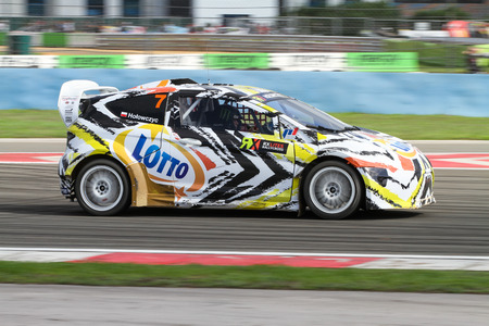 fia: ISTANBUL, TURKEY - OCTOBER 03, 2015: Krzysztof Holowczyc drives RXLites of Lotto Team in FIA World Rallycross Championship. Editorial