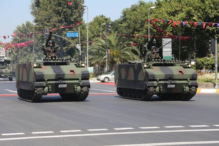 tracked: ISTANBUL, TURKEY - AUGUST 30, 2015: Armoured personnel carrier during 93th anniversary of 30 August Turkish Victory Day parade on Vatan Avenue
