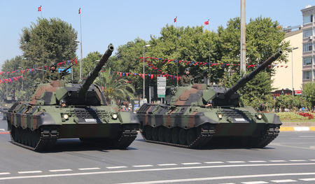 tracked: ISTANBUL, TURKEY - AUGUST 30, 2015: Tanks during 93th anniversary of 30 August Turkish Victory Day parade on Vatan Avenue