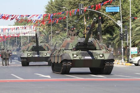 the 30: ISTANBUL, TURKEY - AUGUST 30, 2015: Tank during 93th anniversary of 30 August Turkish Victory Day parade on Vatan Avenue Editorial
