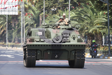 armoured: ISTANBUL, TURKEY - AUGUST 30, 2015: Armoured vehicle during 93th anniversary of 30 August Turkish Victory Day parade on Vatan Avenue